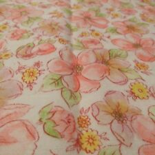 """Lightweight flannel fabric remnant blossom apricot & pink 28""""x36"""""""