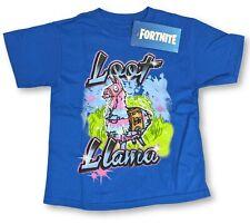 Boys Fortnite Shirt Loot Llama Blue Youth Kids Video Game Tee (Small 6/7)