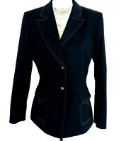 Tahari Arthur Levine Denim Jacket Indigo Blue Lined Two Button Womens Size 10