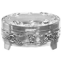Oval Rose Design Silver Plated Trinket Box