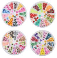 180 pcs 3D Mix Fimo Nail Art Nail Tips Polymer Clay Slices Decoration Wheel New