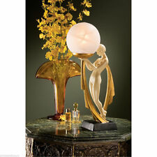 "Graceful Art Deco Lovely Lady Sculptural Lamp 16"" Glass Orb Light Lamps NEW"