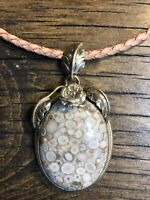 #1166 White Fossil Jasper Pendant, Leather Necklace, Sterling Silver 925 Clasp