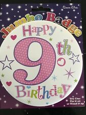 Girls 9th Birthday GIANT BADGE * Star Design * Birthday Party * Hook on clip