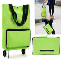 Protable Foldable Shopping Trolley Tote Bag Cart Roll Grocery Wheels Food Holder