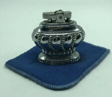 Vintage Silver Tone Japan Table Top Lighter With Pouch