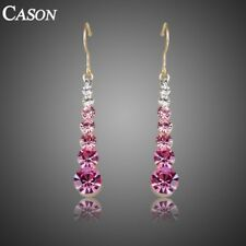 Women Pink Austrian Crystal Drop Earrings Fashion 18k Gold Plated Jewelry Gift