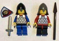 2 X Vintage Castle Lego Minifigures Scale Mail Knights Figs Lion Shield Lot 4