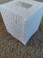 Handmade Needlepoint Plastic Canvas Tissue Box Cover White Simplistic Boho