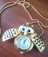 Vintage Women Antique Retro Owl Shape Pocket Watch Analog Necklace Chain