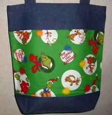 NEW Large Denim Tote Bag Handmade/w Grinch Stole Christmas Characters Fabric