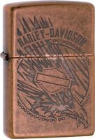 Zippo Harley Davidson Eagle Etched Antique Copper Windproof Lighter 29664 NEW