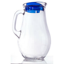 Clear Glass Jug Pitcher with Blue Lid for Cold and Hot Beverages, 61.75 oz