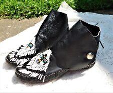 Vintage Black Pebbled Leather Hand Beaded Thunderbird Taos Moccasin Sz 7.5 Women
