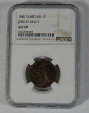 1887 Great Britain 1 Shilling Jubilee Head NGC AU 58