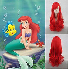 2019 Princess Little Mermaid Ariel Red Wig Long Curly for Kids Children Adult