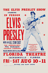 1950's : Elvis Presley at  Florida Theatre Concert Poster 1957  12x18
