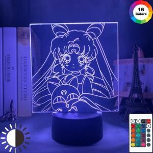 Sailor Moon Led Night Light Decor Light Color Changing For Girls Bedroom