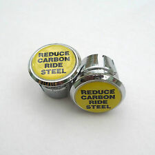 Vintage Style, 'Reduce Carbon Ride Steel' Retro Racing Bar Plugs, Steel Riders!