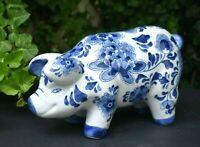 """PIG Figure LARGE Brilliant Blue & White Porcelain Floral Print Asian 11""""x7""""x4.5"""""""