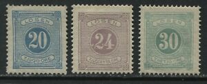 Sweden 1877-86 20, 24, and 30 ore Postage Dues unused no gum