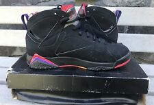 "Nike Air Jordan VII 7 Retro ""RAPTORS"" BLACK PURPLE RED 304775-018 Size 10"