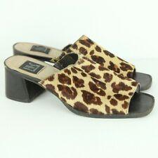 Vintage 90s Y2K Calf Hair Animal Print Mules Slides Sandals Chunky Heel 9 Shoes