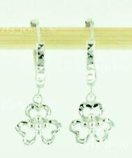 diamond cut clover 2.00 grams #8000 18k solid white gold hoop earring earrings