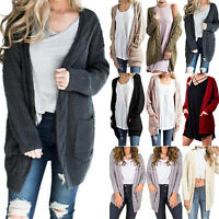 Womens Chunky Cable Knit Ladies Oversize Pocket Open Top Cardigan Jacket Outwear