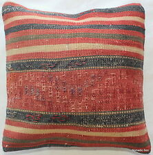 (35*35CM, 14 INCH) Turkish handwoven kilim pillow cover fine weave blue red