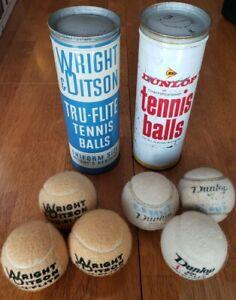Lot of 2 Wright & Ditson Tru-Flite, Dunlop Tennis Balls, Tin Cans Vintage Retro