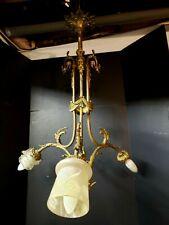 Large Ornate Antique Reproduction 3 Arm Victorian Chandelier cast brass