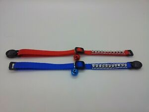 The Safety Collar Nylon Fabric Cat Pet Collar With Rhinestones & Bell Red Blue