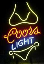 "13""X8"" COORS LIGHT YELLOW BIKINI BEER BAR TN MILLER LAMP IPHONE NEON LIGHT SIGN"