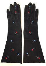 Vintage Black Kid Leather Suede Petit Point Flower Embroidery Gloves Sz M
