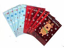 Doppelpack von 10 süß rot/blau Schneemann & Pinguin Weihnachten Karten +