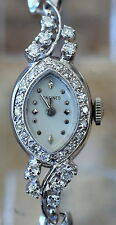 Longines 14k White gold And Diamonds Ladies Vintage Cocktail Watch Works Great