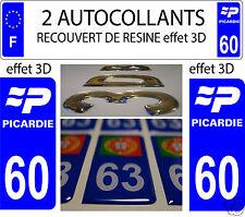 2 STICKERS RECOUVERT DE RESINE PLAQUE IMMATRICULATION DEPARTEMENT OISE 60