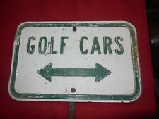 Vintage Mid Century Golf Cars directional course sign heavy embossed Monterey CA