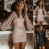 Women Sequin Bodycon Mini Dress Sparkly Slim Evening Cocktail Prom Party Dresses