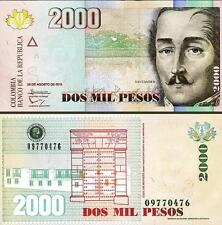 COLOMBIA 2000 2,000 PESOS 28-8-2013 UNC P.NEW - DOUBLE SECURTY THREAD