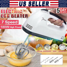 7-Speeds Electric Hand Mixer Whisk Egg Beater Cake Bread Mixing Baking Kitchen