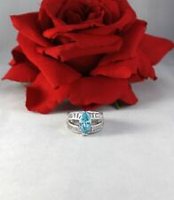 Sparkling Blue & White Silver tone Cocktail Ring Size 7  CAT RESCUE