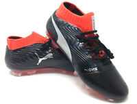 PUMA One 18.1 FG Soccer Cleat 104527 01 Black Silver Red Blast Men's Size 7.5