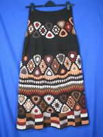 NEUSTETERS Granny Square AFGHAN CROCHET BLANKET Vtg Maxi Skirt BROWN Hippie S/M