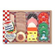 Melissa  Doug Sandwich-Making Set (Wooden Play Food, Wooden Storage Tray, Mater