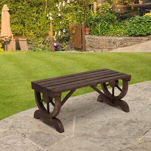 Rustic Wooden Bench Wheel-Shaped Legs Garden Chair Outdoor Park Seat - Brown