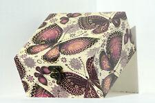 Legno fatto a mano a cerniera media Storage/Ciondolo Box Decoupage Farfalla