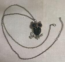 "Vintage Silvertone Metal Chain Black Crystal Inset Owl Pendant 30.5"" Necklace"