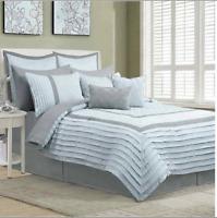 Central Park Home Chantrelle Comforter Set, King Grey and Blue 12 piece